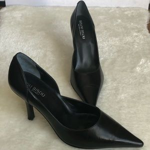 Bisou Bisou black leather upper heels pointed toe